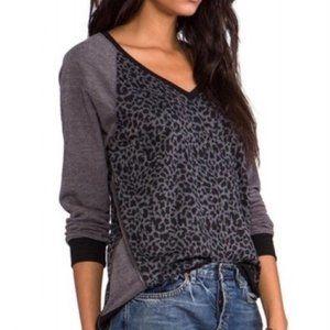 Sanctuary Black/Grey Leopard V-Neck Sweatshirt-Med
